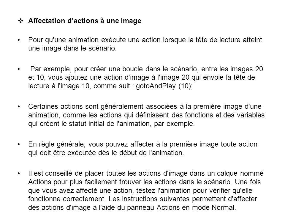 Affectation d'actions à une image Pour qu'une animation exécute une action lorsque la tête de lecture atteint une image dans le scénario. Par exemple,