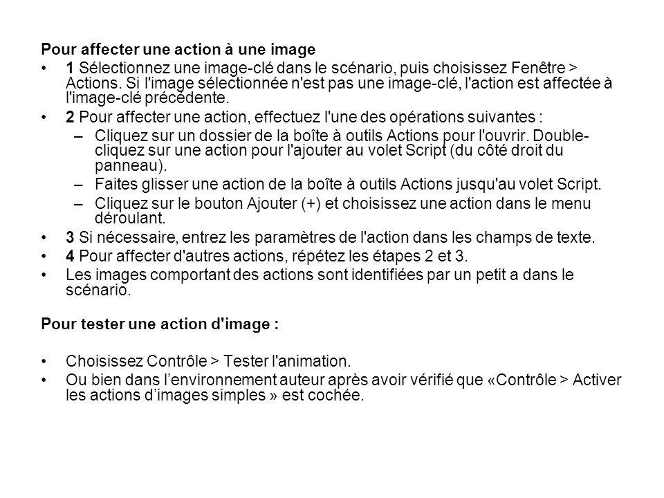 Pour affecter une action à une image 1 Sélectionnez une image-clé dans le scénario, puis choisissez Fenêtre > Actions. Si l'image sélectionnée n'est p
