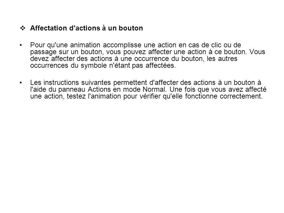 Affectation d'actions à un bouton Pour qu'une animation accomplisse une action en cas de clic ou de passage sur un bouton, vous pouvez affecter une ac