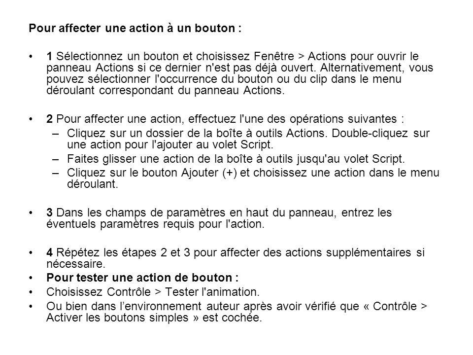 Pour affecter une action à un bouton : 1 Sélectionnez un bouton et choisissez Fenêtre > Actions pour ouvrir le panneau Actions si ce dernier n'est pas