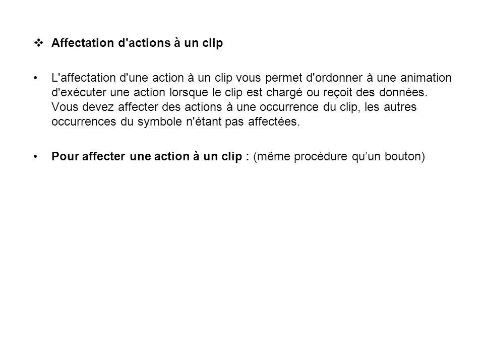 Affectation d'actions à un clip L'affectation d'une action à un clip vous permet d'ordonner à une animation d'exécuter une action lorsque le clip est