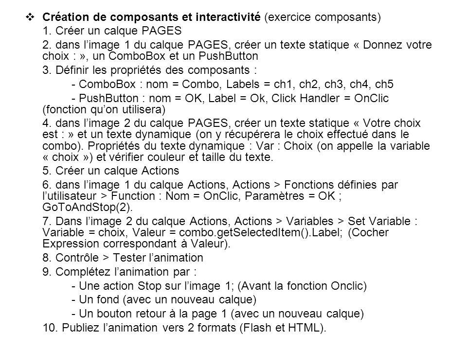 Création de composants et interactivité (exercice composants) 1. Créer un calque PAGES 2. dans limage 1 du calque PAGES, créer un texte statique « Don