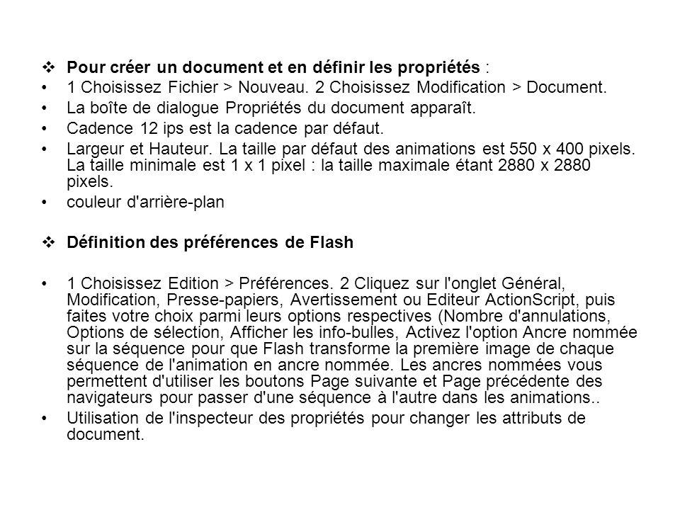 Pour créer un document et en définir les propriétés : 1 Choisissez Fichier > Nouveau. 2 Choisissez Modification > Document. La boîte de dialogue Propr