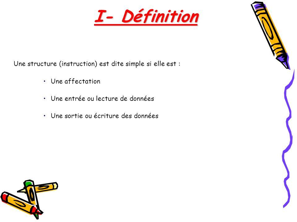 Une structure (instruction) est dite simple si elle est : Une affectation Une entrée ou lecture de données Une sortie ou écriture des données I- Défin