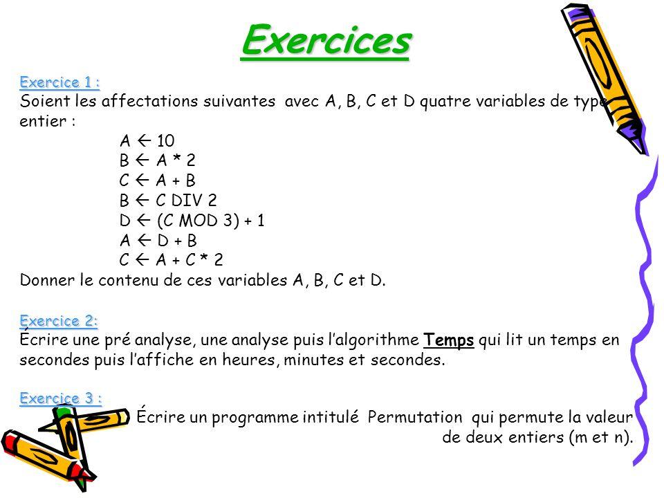 Exercice 1 : Soient les affectations suivantes avec A, B, C et D quatre variables de type entier : A 10 B A * 2 C A + B B C DIV 2 D (C MOD 3) + 1 A D