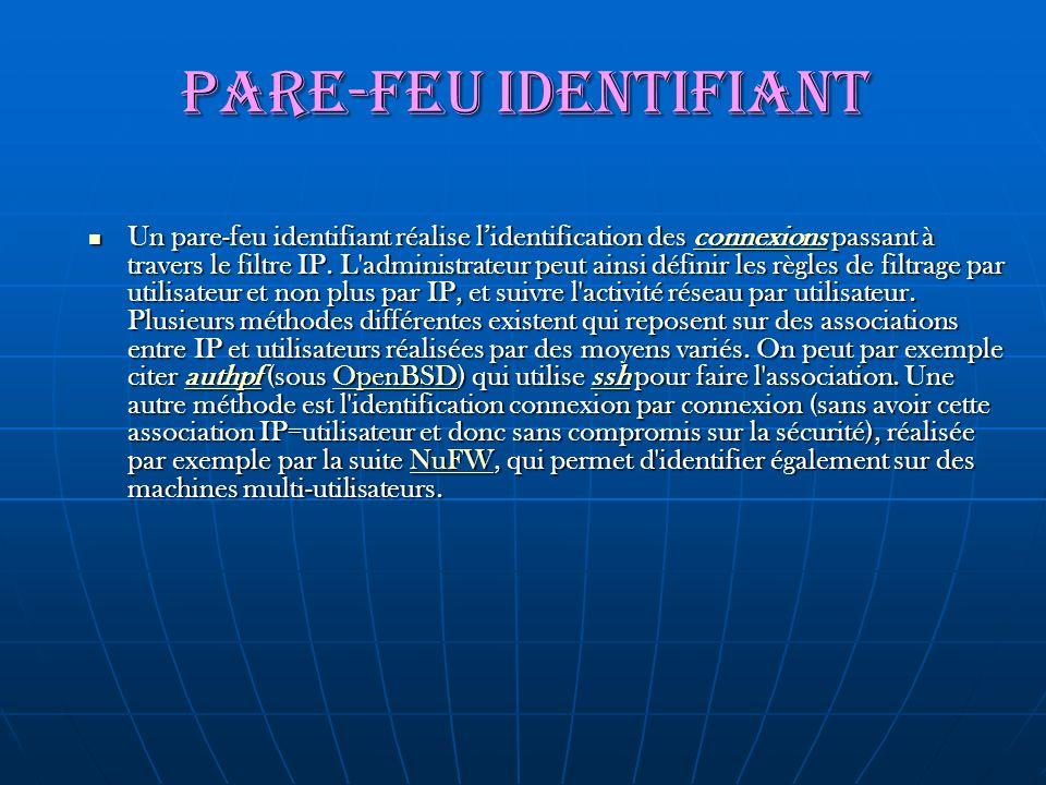 Pare-feu identifiant Un pare-feu identifiant réalise lidentification des connexions passant à travers le filtre IP. L'administrateur peut ainsi défini