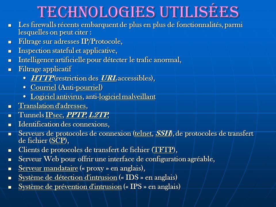 Technologies utilisées Les firewalls récents embarquent de plus en plus de fonctionnalités, parmi lesquelles on peut citer : Les firewalls récents emb