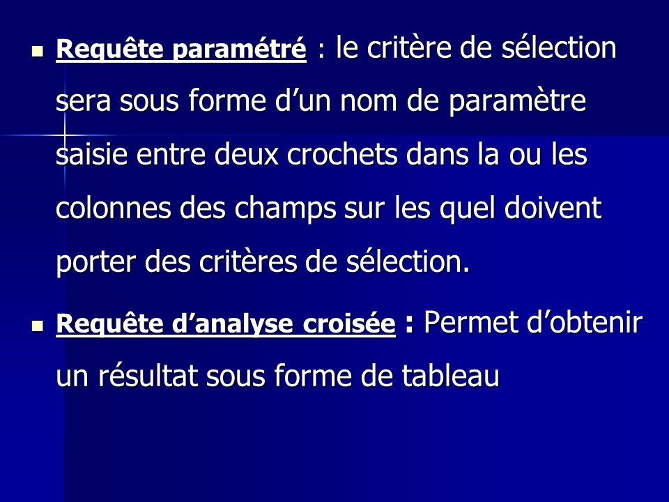 Requête paramétré : le critère de sélection sera sous forme dun nom de paramètre saisie entre deux crochets dans la ou les colonnes des champs sur les
