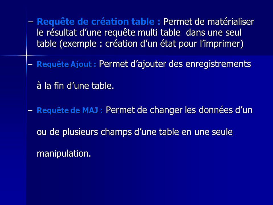 –Requête de création table : Permet de matérialiser le résultat dune requête multi table dans une seul table (exemple : création dun état pour limprim
