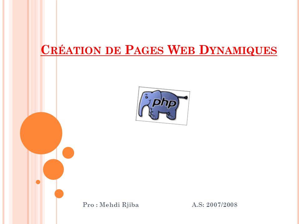 C RÉATION DE P AGES W EB D YNAMIQUES Pro : Mehdi Rjiba A.S: 2007/2008