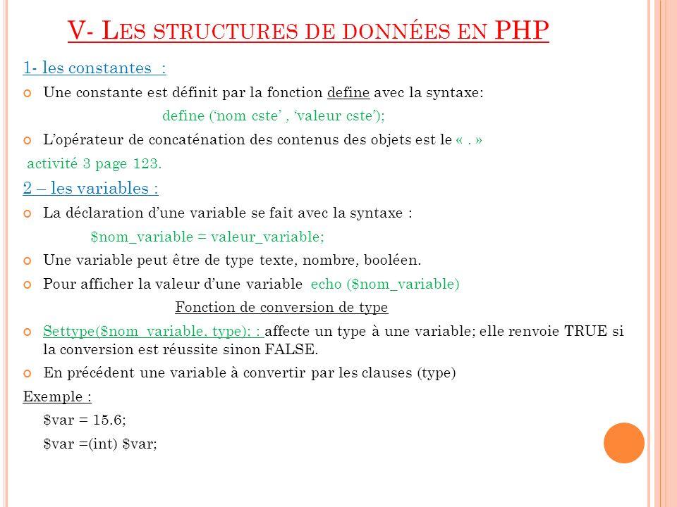V- L ES STRUCTURES DE DONNÉES EN PHP 1- les constantes : Une constante est définit par la fonction define avec la syntaxe: define (nom cste, valeur cs