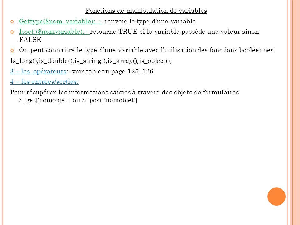 Fonctions de manipulation de variables Gettype($nom_variable); : renvoie le type dune variable Isset ($nomvariable); : retourne TRUE si la variable po