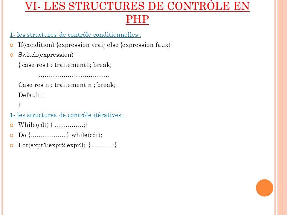 VI- LES STRUCTURES DE CONTRÔLE EN PHP 1- les structures de contrôle conditionnelles : If(condition) {expression vrai} else {expression faux} Switch(ex