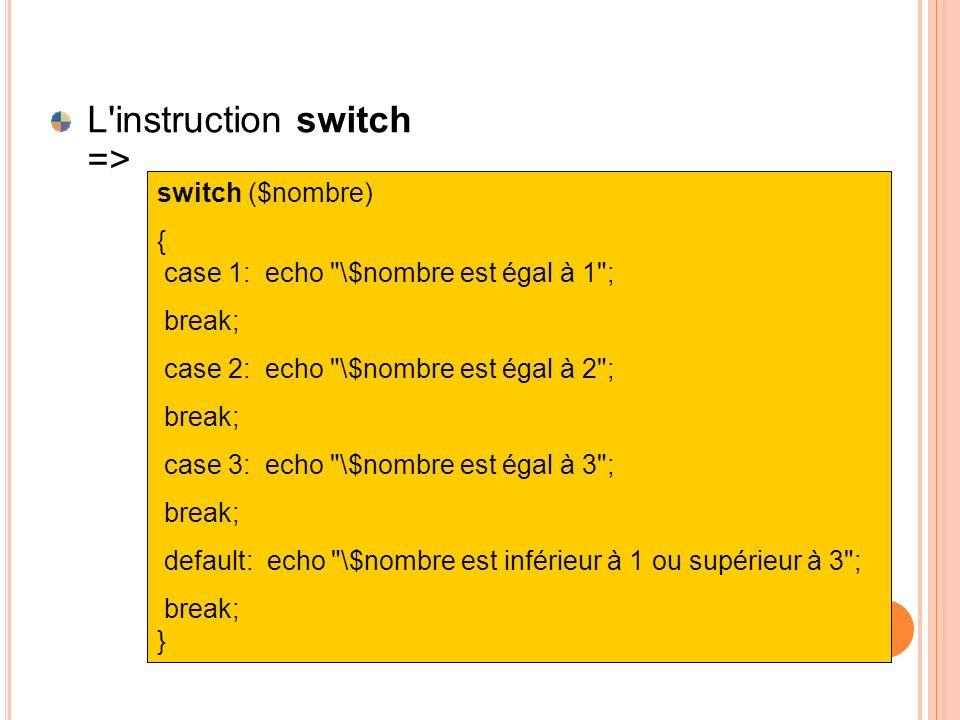 L'instruction switch => switch ($nombre) { case 1: echo