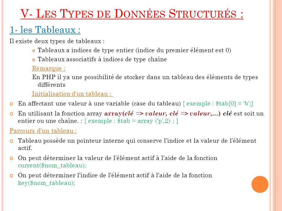V- L ES T YPES DE D ONNÉES S TRUCTURÉS : 1- les Tableaux : Il existe deux types de tableaux : Tableaux a indices de type entier (indice du premier élé