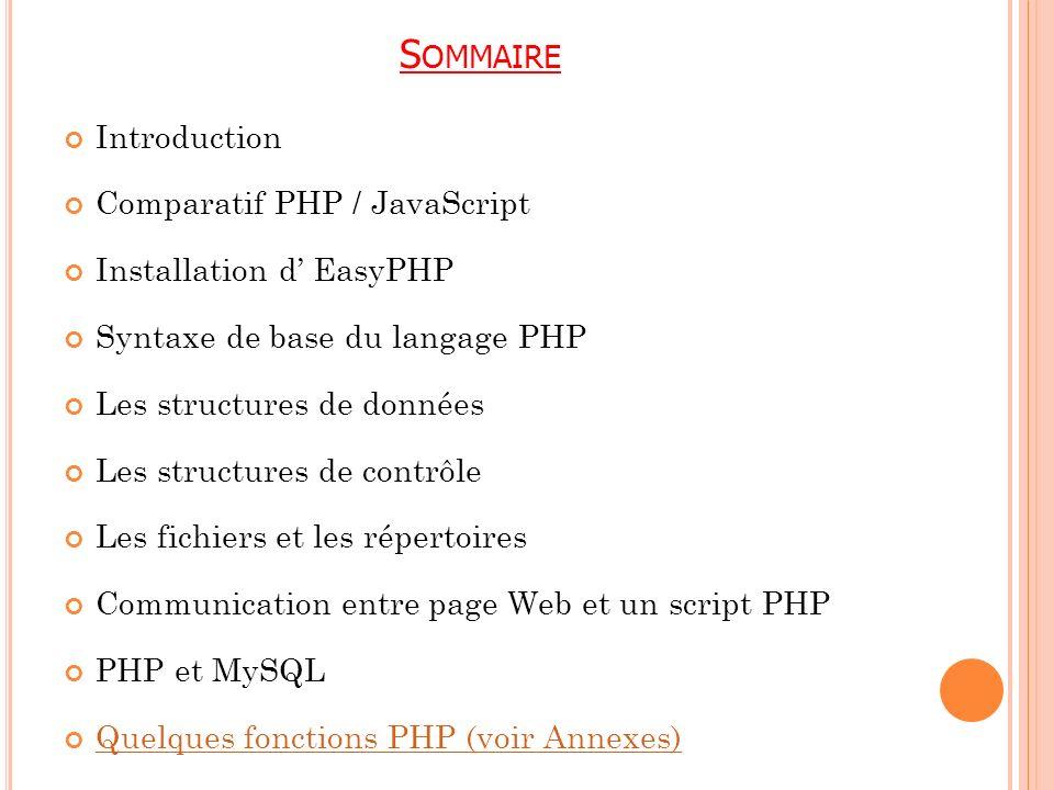 S OMMAIRE Introduction Comparatif PHP / JavaScript Installation d EasyPHP Syntaxe de base du langage PHP Les structures de données Les structures de c