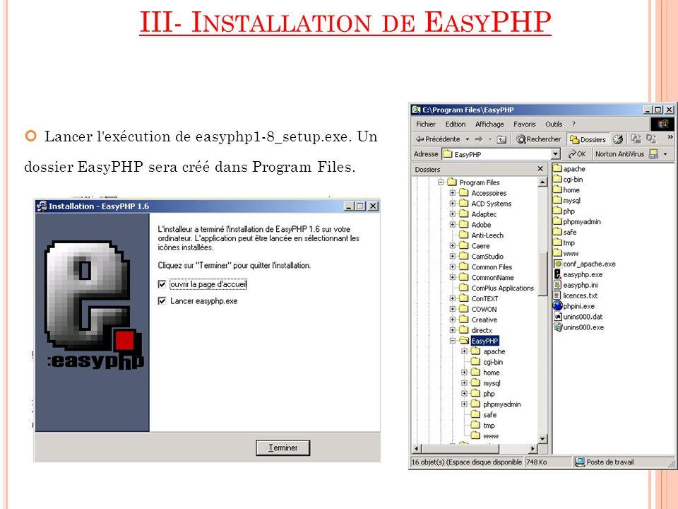 III- I NSTALLATION DE E ASY PHP Lancer l'exécution de easyphp1-8_setup.exe. Un dossier EasyPHP sera créé dans Program Files.