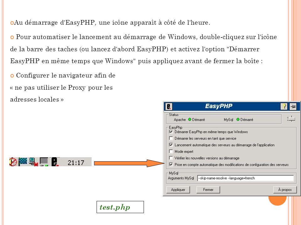 Au démarrage d'EasyPHP, une icône apparaît à côté de l'heure. Pour automatiser le lancement au démarrage de Windows, double-cliquez sur l'icône de la