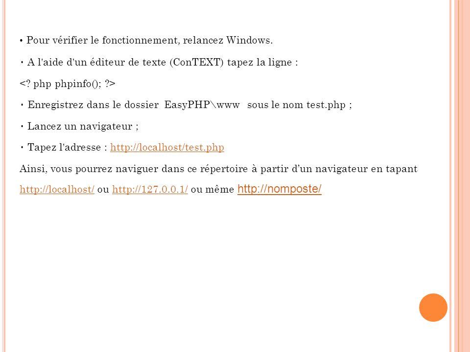 Pour vérifier le fonctionnement, relancez Windows. A l'aide d'un éditeur de texte (ConTEXT) tapez la ligne : Enregistrez dans le dossier EasyPHP\www s