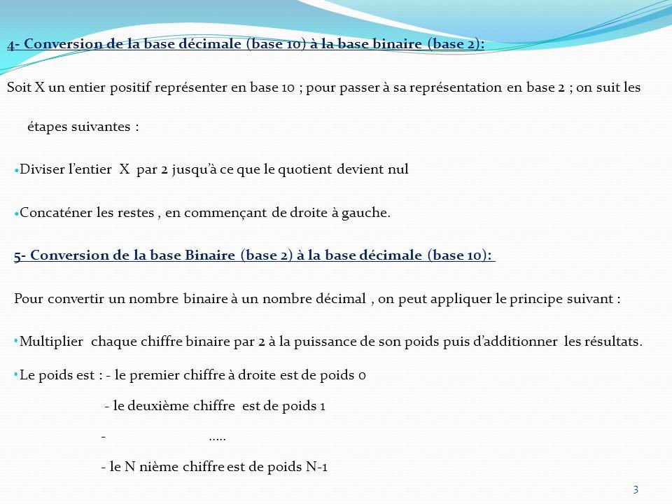 4- Conversion de la base décimale (base 10) à la base binaire (base 2): Soit X un entier positif représenter en base 10 ; pour passer à sa représentat