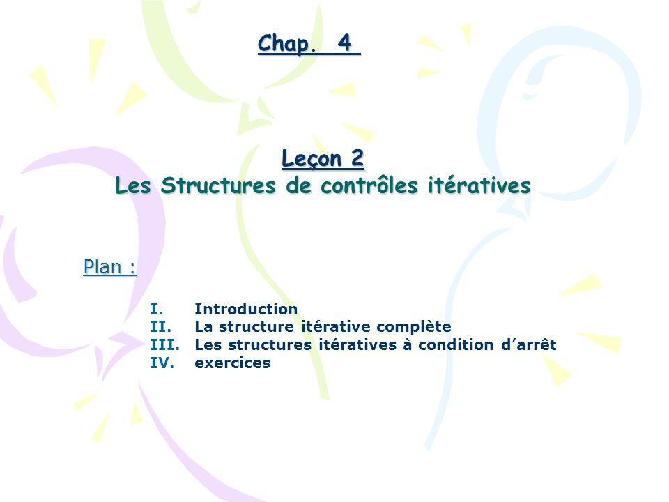 Plan : I.Introduction II.La structure itérative complète III.Les structures itératives à condition darrêt IV.exercices Chap. 4 Leçon 2 Les Structures