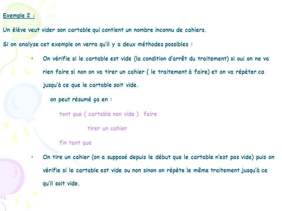 Exemple 2 : Un élève veut vider son cartable qui contient un nombre inconnu de cahiers. Si on analyse cet exemple on verra quil y a deux méthodes poss