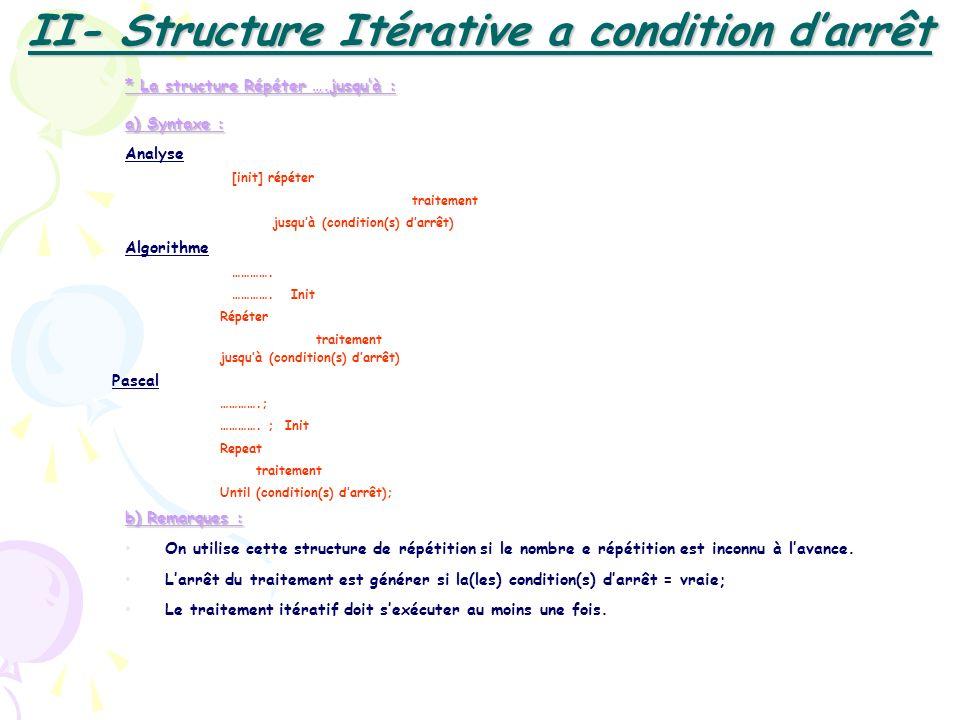 * La structure Répéter ….jusquà : a) Syntaxe : Analyse [init] répéter traitement jusquà (condition(s) darrêt) Algorithme …………. …………. Init Répéter trai