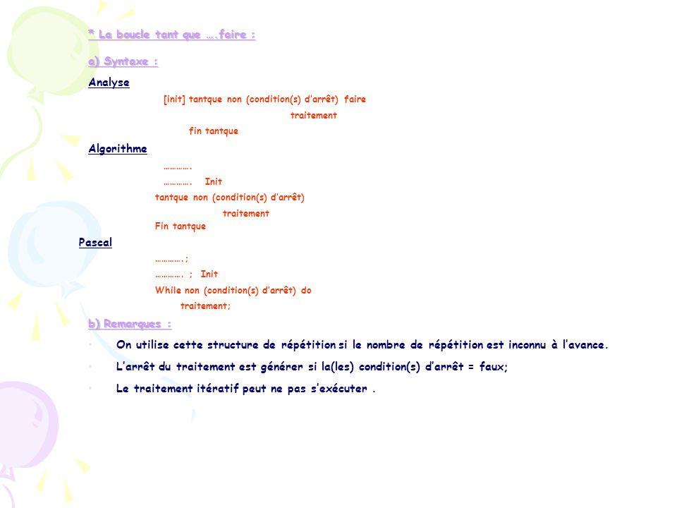 * La boucle tant que ….faire : a) Syntaxe : Analyse [init] tantque non (condition(s) darrêt) faire traitement fin tantque Algorithme …………. …………. Init