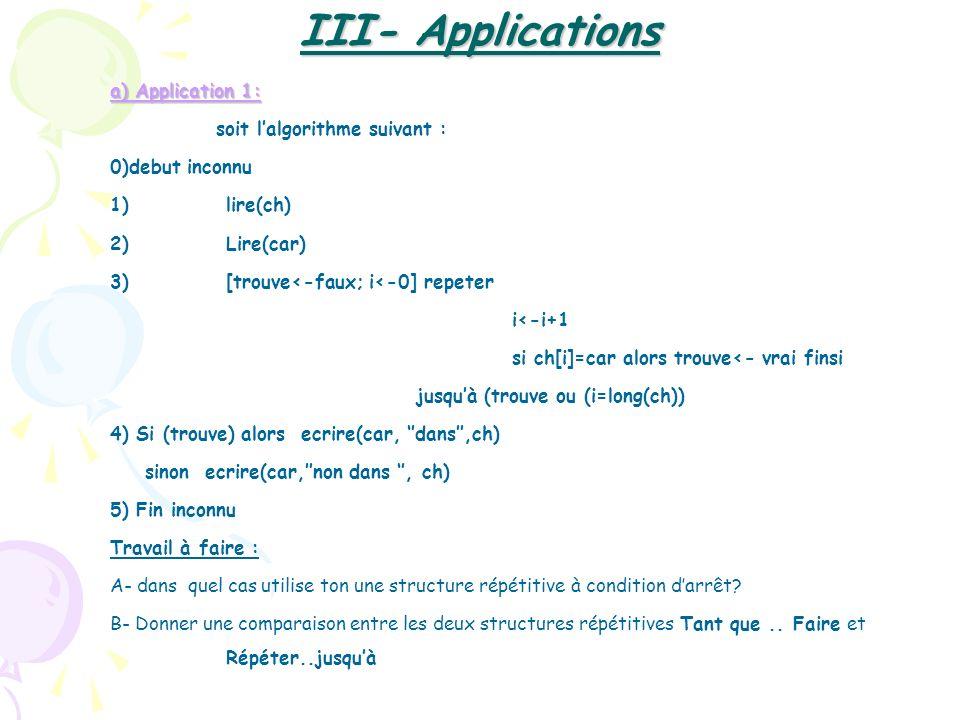 a) Application 1: soit lalgorithme suivant : 0)debut inconnu 1)lire(ch) 2)Lire(car) 3)[trouve<-faux; i<-0] repeter i<-i+1 si ch[i]=car alors trouve<-