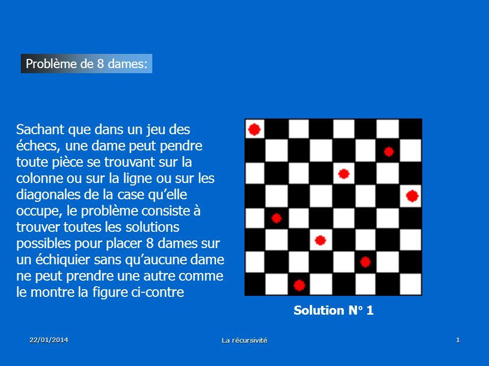 22/01/2014 La récursivité 1 Problème de 8 dames: Sachant que dans un jeu des échecs, une dame peut pendre toute pièce se trouvant sur la colonne ou su