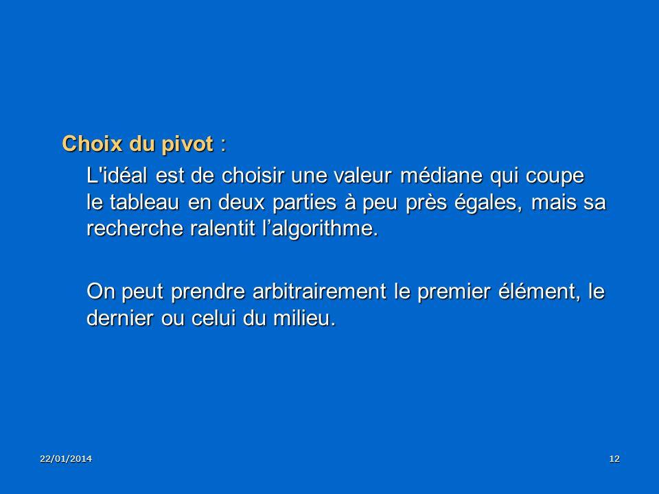 22/01/201412 Choix du pivot : L'idéal est de choisir une valeur médiane qui coupe le tableau en deux parties à peu près égales, mais sa recherche rale