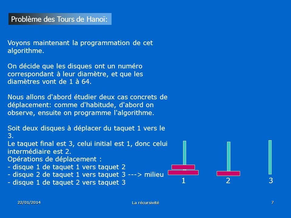 22/01/2014 La récursivité 7 Problème des Tours de Hanoï: Voyons maintenant la programmation de cet algorithme. On décide que les disques ont un numéro