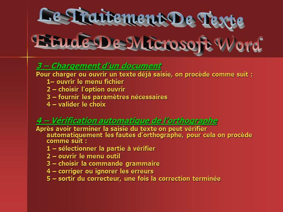 3 – Chargement dun document Pour charger ou ouvrir un texte déjà saisie, on procède comme suit : 1– ouvrir le menu fichier 2 – choisir loption ouvrir