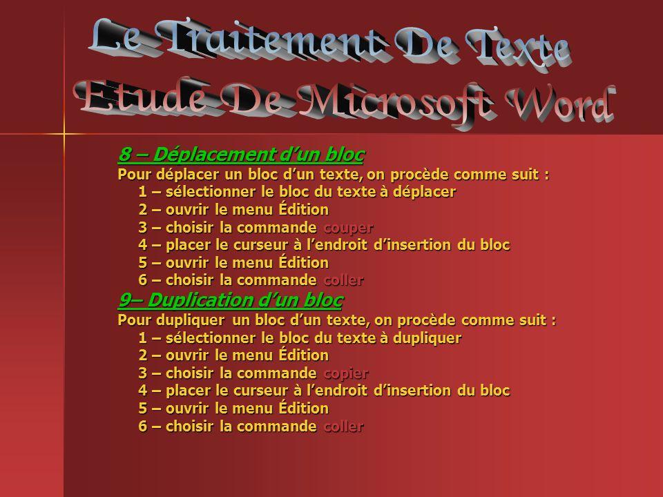 8 – Déplacement dun bloc Pour déplacer un bloc dun texte, on procède comme suit : 1 – sélectionner le bloc du texte à déplacer 2 – ouvrir le menu Édit