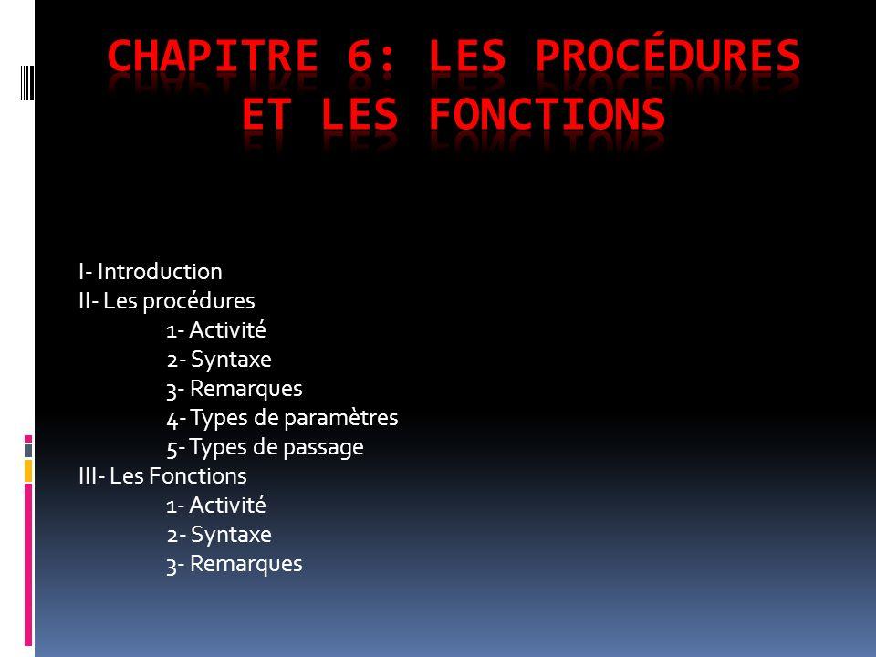 I- Introduction II- Les procédures 1- Activité 2- Syntaxe 3- Remarques 4- Types de paramètres 5- Types de passage III- Les Fonctions 1- Activité 2- Sy