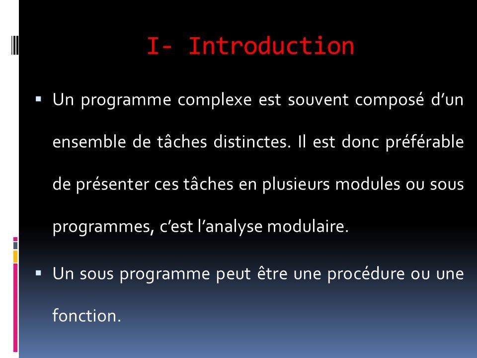 I- Introduction Un programme complexe est souvent composé dun ensemble de tâches distinctes. Il est donc préférable de présenter ces tâches en plusieu