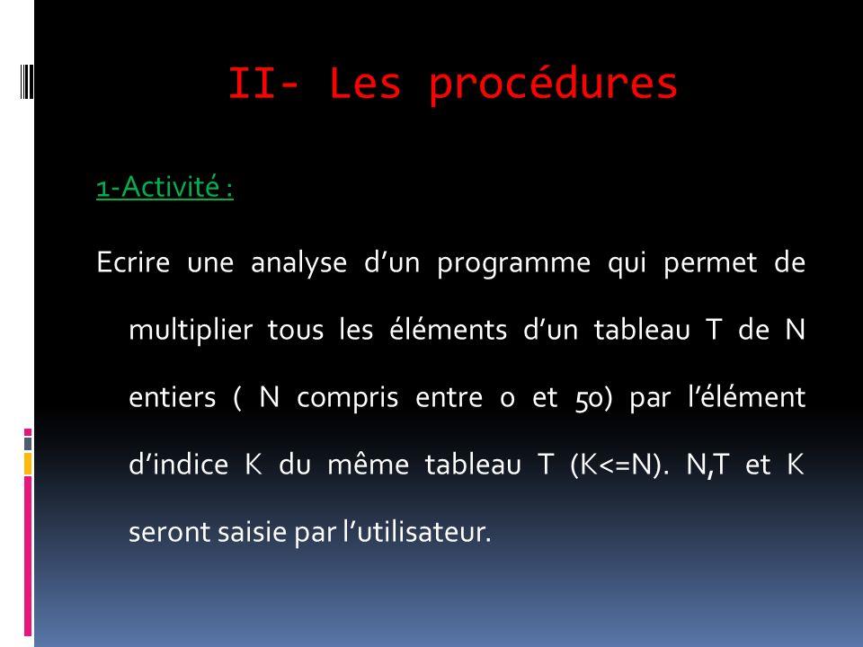 II- Les procédures 1-Activité : Ecrire une analyse dun programme qui permet de multiplier tous les éléments dun tableau T de N entiers ( N compris ent