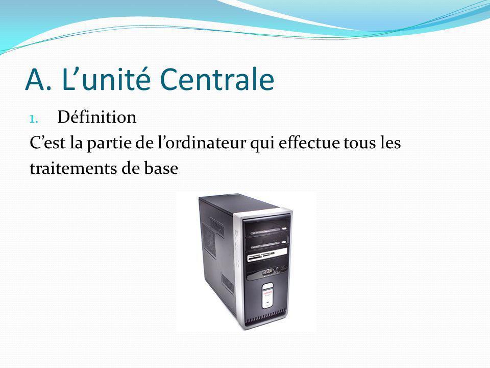 A. Lunité Centrale 1. Définition Cest la partie de lordinateur qui effectue tous les traitements de base