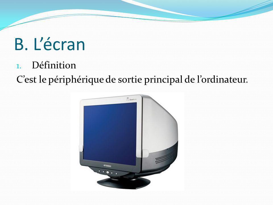B. Lécran 1. Définition Cest le périphérique de sortie principal de lordinateur.