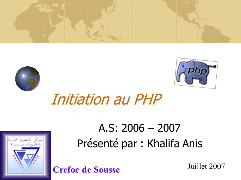 Initiation au PHP A.S: 2006 – 2007 Présenté par : Khalifa Anis Juillet 2007 Crefoc de Sousse