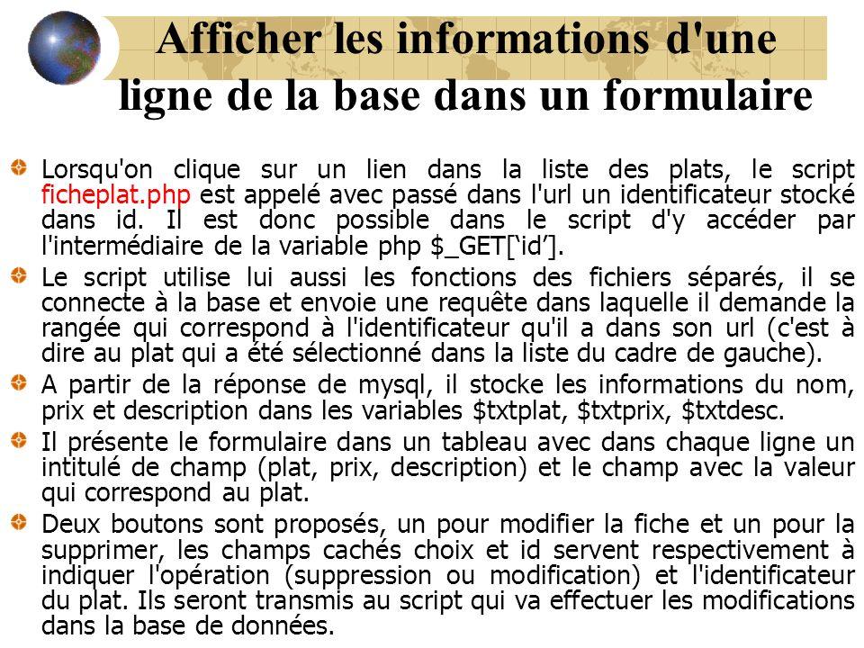 Afficher les informations d'une ligne de la base dans un formulaire Lorsqu'on clique sur un lien dans la liste des plats, le script ficheplat.php est