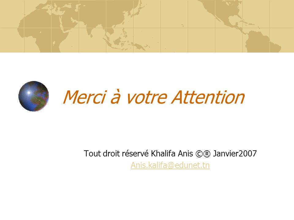 Merci à votre Attention Tout droit réservé Khalifa Anis ©® Janvier2007 Anis.kalifa@edunet.tn