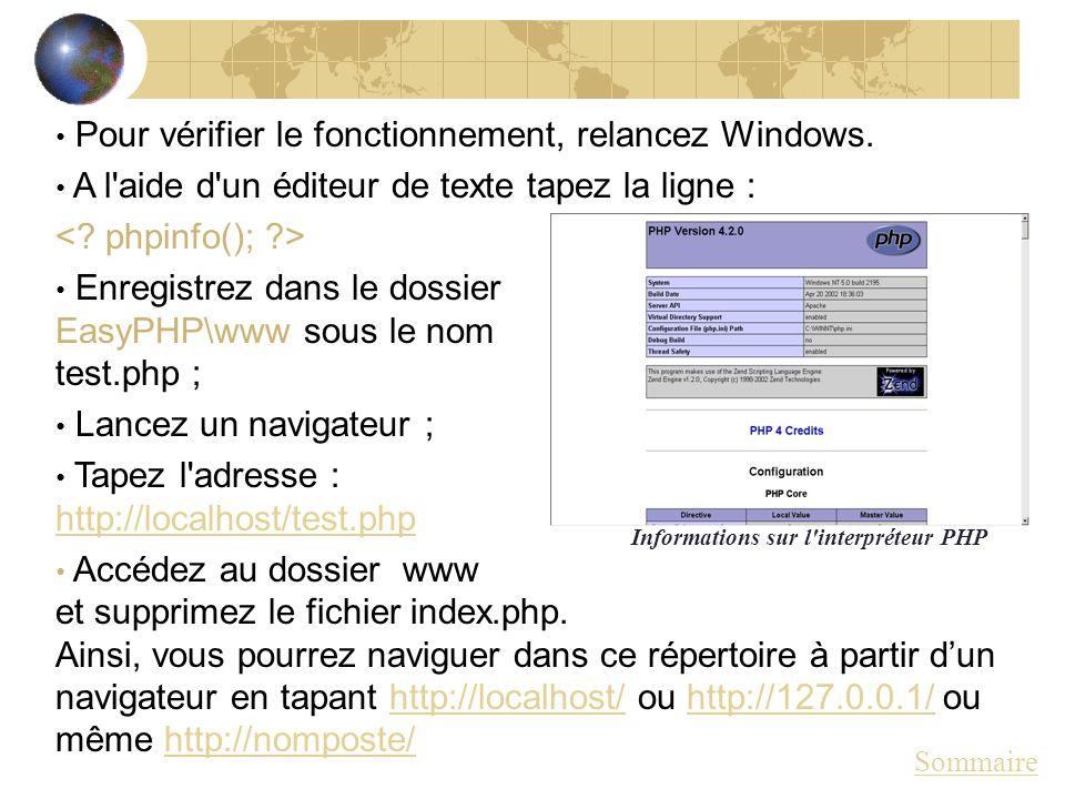 Pour vérifier le fonctionnement, relancez Windows. A l'aide d'un éditeur de texte tapez la ligne : Enregistrez dans le dossier EasyPHP\www sous le nom