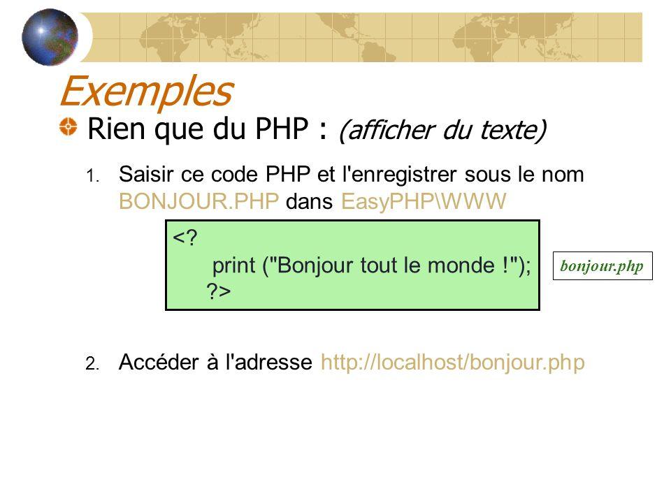 Exemples Rien que du PHP : (afficher du texte) 1. Saisir ce code PHP et l'enregistrer sous le nom BONJOUR.PHP dans EasyPHP\WWW 2. Accéder à l'adresse