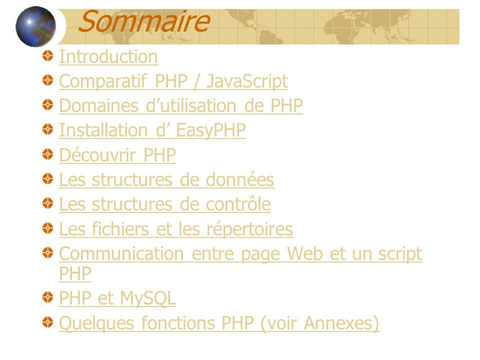Sommaire Introduction Comparatif PHP / JavaScript Domaines dutilisation de PHP Installation d EasyPHP Découvrir PHP Les structures de données Les stru