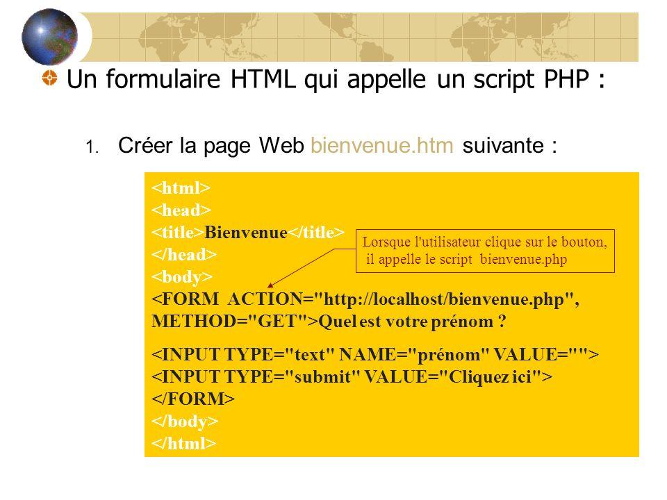 1. Créer la page Web bienvenue.htm suivante : Bienvenue Quel est votre prénom ? Un formulaire HTML qui appelle un script PHP : Lorsque l'utilisateur c