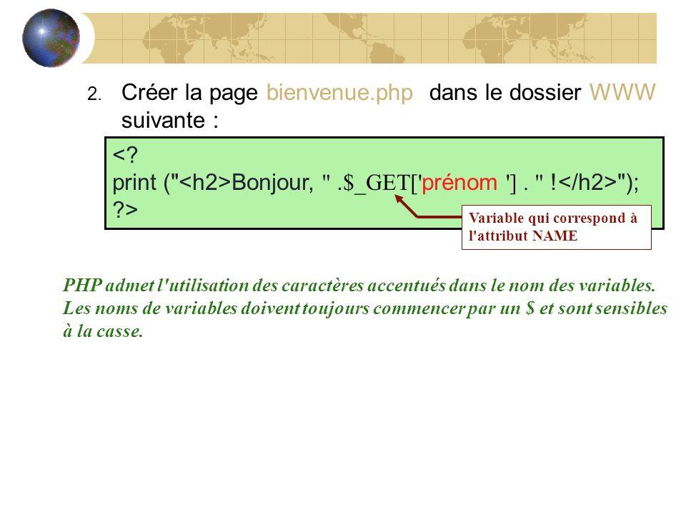 2. Créer la page bienvenue.php dans le dossier WWW suivante : <? print (