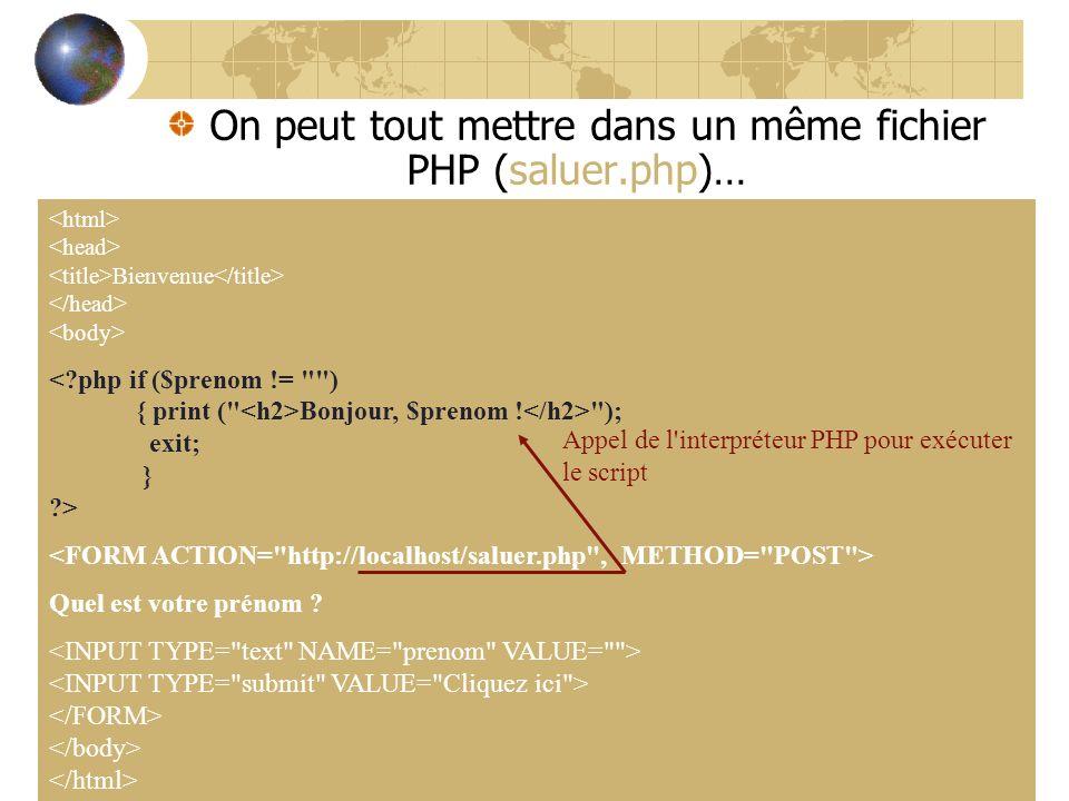 1. Créer la page saluer.php suivante : On peut tout mettre dans un même fichier PHP (saluer.php)… Bienvenue Bonjour, $prenom !