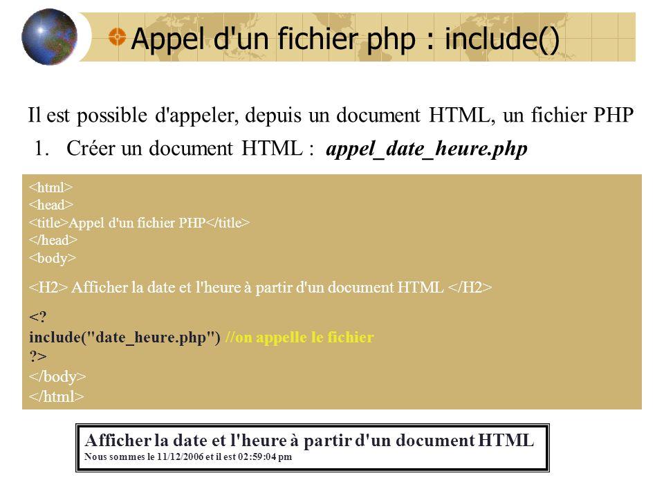 Appel d'un fichier php : include() Il est possible d'appeler, depuis un document HTML, un fichier PHP 1.Créer un document HTML : appel_date_heure.php
