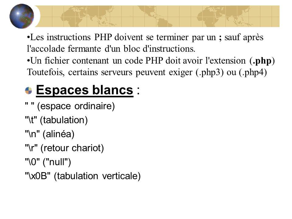 Les instructions PHP doivent se terminer par un ; sauf après l'accolade fermante d'un bloc d'instructions. Un fichier contenant un code PHP doit avoir